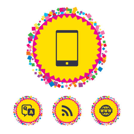 Web buttons with confetti pieces. Question answer icon.  Smartphone and Q&A chat speech bubble symbols. RSS feed and internet globe signs. Communication Bright stylish design. Vector