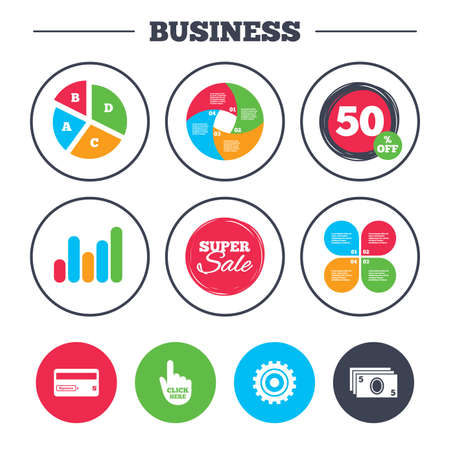 bank withdrawal: Business pie chart. Growth graph. ATM cash machine withdrawal icons. Insert bank card, click here and check PIN, processing and get cash symbols. Super sale and discount buttons. Vector