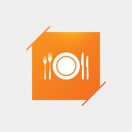 Plate dish with forks and knifes. Eat sign icon. Cutlery etiquette rules symbol. Orange square label on pattern. Vector