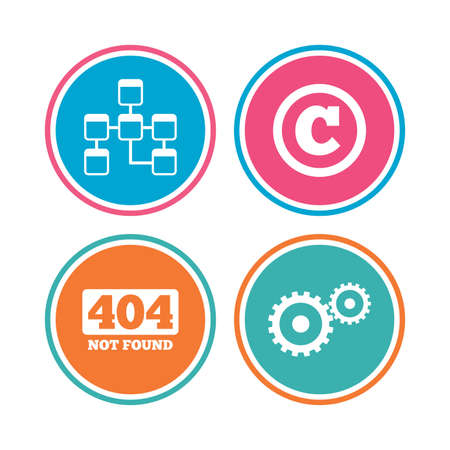 copyrights: Website database icon. Copyrights and gear signs. 404 page not found symbol. Under construction. Colored circle buttons. Vector