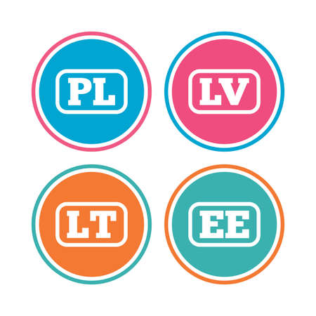 Language icons. PL, LV, LT and EE translation symbols. Poland, Latvia, Lithuania and Estonia languages. Colored circle buttons. Vector Illusztráció