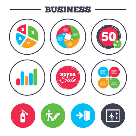 Business pie chart. Growth graph. Emergency exit icons. Fire extinguisher sign. Elevator or lift symbol. Fire exit through the stairwell. Super sale and discount buttons. Vector