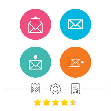 webmail: Mail envelope icons. Message document delivery symbol. Post office letter signs. Inbox and outbox message icons. Calendar, cogwheel and report linear icons. Star vote ranking. Vector
