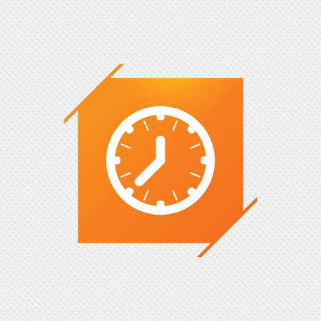 Clock time sign icon. Mechanical watch symbol. Orange square label on pattern. Vector