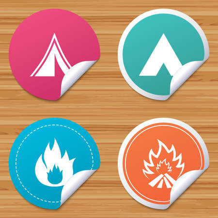 bended: Round stickers or website banners. Tourist camping tent icons. Fire flame sign symbols. Circle badges with bended corner. Vector Illustration