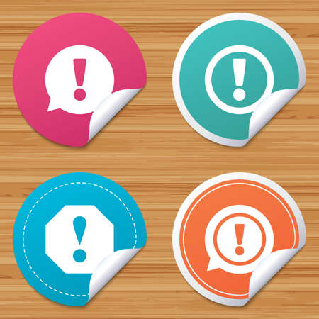 bended: Round stickers or website banners. Attention icons. Exclamation speech bubble symbols. Caution signs. Circle badges with bended corner. Vector Illustration