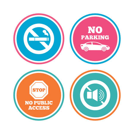 private access: Stop smoking and no sound signs. Private territory parking or public access. Cigarette symbol. Speaker volume. Colored circle buttons. Vector