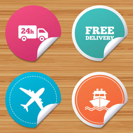bended: Round stickers or website banners. Cargo truck and shipping icons. Shipping and free delivery signs. Transport symbols. 24h service. Circle badges with bended corner. Vector