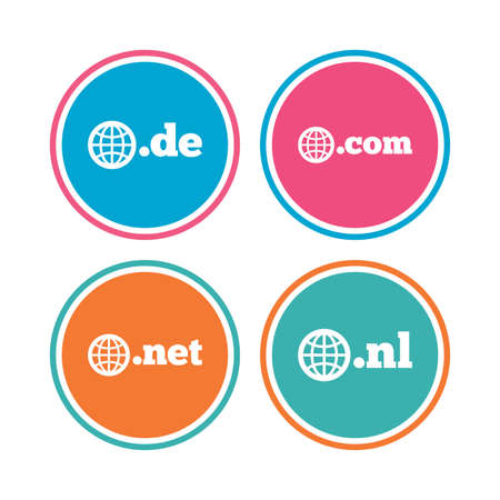 nl: Top-level internet domain icons. De, Com, Net and Nl symbols with globe. Unique national DNS names. Colored circle buttons. Vector