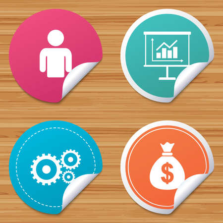 bended: Round stickers or website banners. Business icons. Human silhouette and presentation board with charts signs. Dollar money bag and gear symbols. Circle badges with bended corner. Vector Illustration