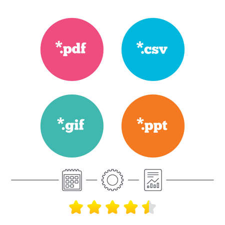 Document icons. File extensions symbols. PDF, GIF, CSV and PPT presentation signs. Calendar, cogwheel and report linear icons. Star vote ranking. Vector Ilustrace