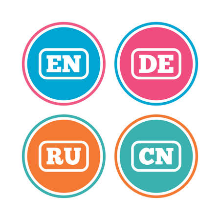 en: Language icons. EN, DE, RU and CN translation symbols. English, German, Russian and Chinese languages. Colored circle buttons. Vector Illustration