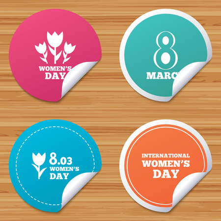 bended: Round stickers or website banners. 8 March Womens Day icons. Tulips or rose flowers bouquet sign symbols. Circle badges with bended corner. Vector