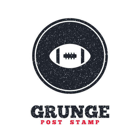 dirty football: Grunge post stamp. Circle banner or label. American football sign icon. Team sport game symbol. Dirty textured web button. Vector