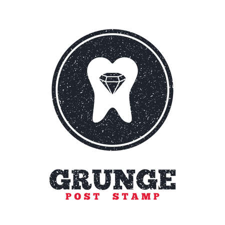 prestige: Grunge post stamp. Circle banner or label. Tooth crystal icon. Tooth jewellery sign. Dental prestige symbol. Dirty textured web button. Vector