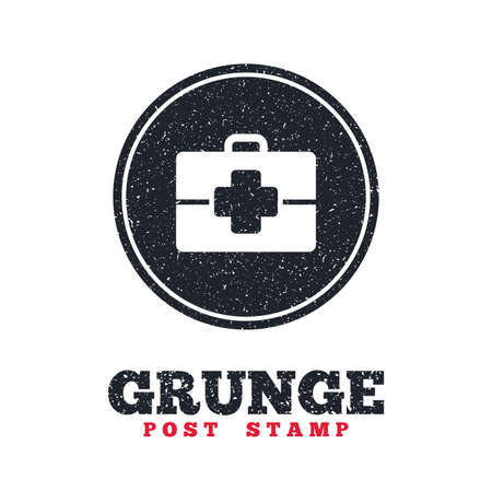 medical case: Grunge post stamp. Circle banner or label. Medical case sign icon. Doctor symbol. Dirty textured web button. Vector Illustration