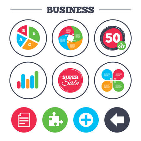 puzzle corners: Business pie chart. Growth graph. Plus add circle and puzzle piece icons. Document file and back arrow sign symbols. Super sale and discount buttons. Vector