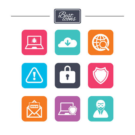 breakin: Internet privacy icons. Cyber crime signs. Virus, spam e-mail and anonymous user symbols. Colorful flat square buttons with icons. Vector Illustration