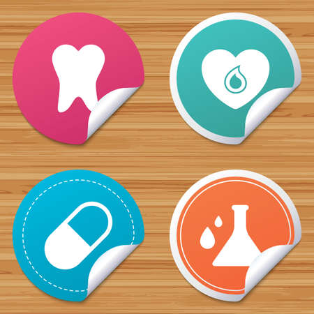 bended: Round stickers or website banners. Maternity icons. Pill, tooth, chemistry and heart signs. Blood donation symbol. Lab bulb with drops. Dental care. Circle badges with bended corner. Vector