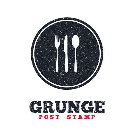 grunge cutlery: Grunge post stamp. Circle banner or label. Fork, knife, tablespoon sign icon. Cutlery collection set symbol. Dirty textured web button. Vector