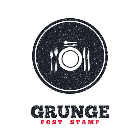 grunge cutlery: Grunge post stamp. Circle banner or label. Plate dish with forks and knifes. Dessert trident fork with teaspoon. Eat sign icon. Cutlery etiquette rules symbol. Dirty textured web button. Vector