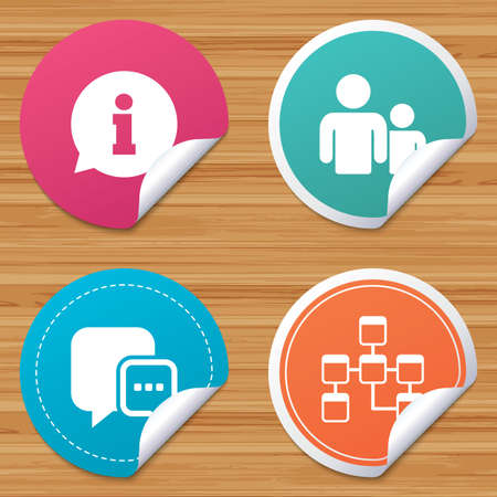 relational: Round stickers or website banners. Information sign. Group of people and database symbols. Chat speech bubbles sign. Communication icons. Circle badges with bended corner. Vector Illustration