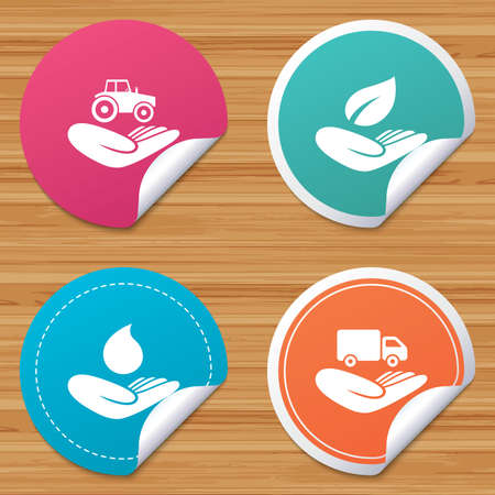 bended: Round stickers or website banners. Helping hands icons. Agricultural tractor insurance symbol. Delivery truck sign. Save nature leaf and water drop. Circle badges with bended corner. Vector