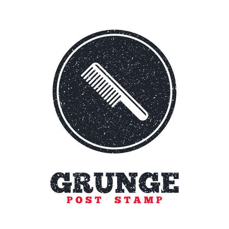 comb hair: Grunge post stamp. Circle banner or label. Comb hair sign icon. Barber symbol. Dirty textured web button. Vector