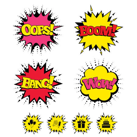 Comic Boom, Wow, Oops sound effects. Birthday party icons. Cake and gift box signs. Air balloons and fireworks symbol. Speech bubbles in pop art. Vector Illustration