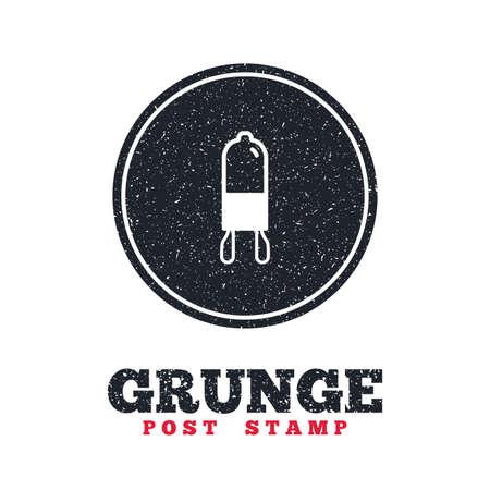 enchufe de luz: Grunge post stamp. Circle banner or label. Light bulb icon. Lamp G9 socket symbol. Led or halogen light sign. Dirty textured web button. Vector