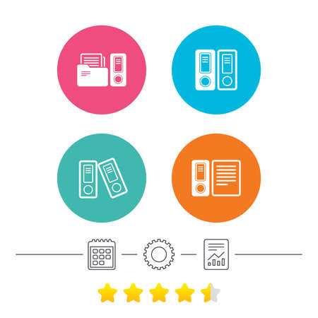accountancy: Accounting icons. Document storage in folders sign symbols. Calendar, cogwheel and report linear icons. Star vote ranking. Vector Illustration