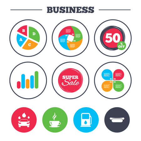 super hot: Business pie chart. Growth graph. Petrol or Gas station services icons. Automated car wash signs. Hotdog sandwich and hot coffee cup symbols. Super sale and discount buttons. Vector