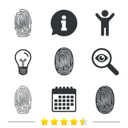 dabs: Fingerprint icons. Identification or authentication symbols. Biometric human dabs signs. Information, light bulb and calendar icons. Investigate magnifier. Vector Illustration