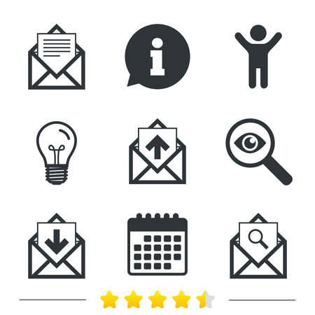 webmail: Mail envelope icons. Find message document symbol. Post office letter signs. Inbox and outbox message icons. Information, light bulb and calendar icons. Investigate magnifier. Vector Illustration