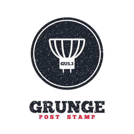 enchufe de luz: Grunge post stamp. Circle banner or label. Light bulb icon. Lamp GU5.3 socket symbol. Led or halogen light sign. Dirty textured web button. Vector Vectores
