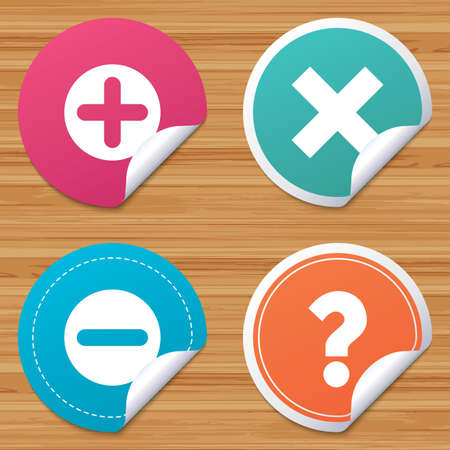 bended: Round stickers or website banners. Plus and minus icons. Delete and question FAQ mark signs. Enlarge zoom symbol. Circle badges with bended corner. Vector Illustration