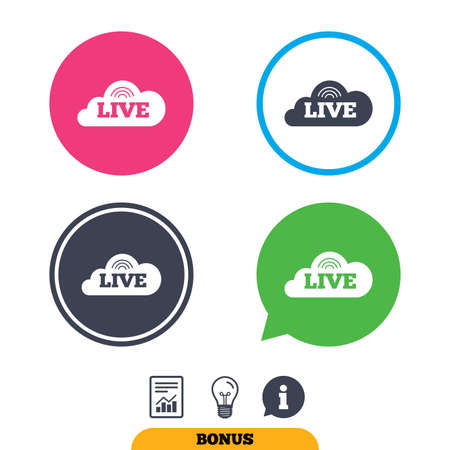 live stream radio: Live sign icon. On air stream symbol. Report document, information sign and light bulb icons. Vector
