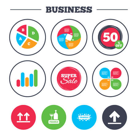 brittle: Business pie chart. Growth graph. Fragile icons. Delicate package delivery signs. This side up arrows symbol. Super sale and discount buttons. Vector