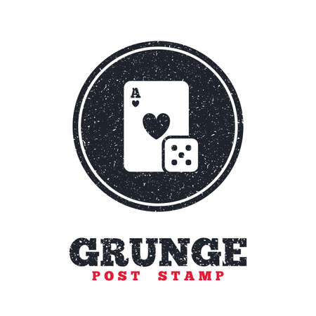token: Grunge post stamp. Circle banner or label. Casino sign icon. Playing card with dice symbol. Dirty textured web button. Vector Illustration
