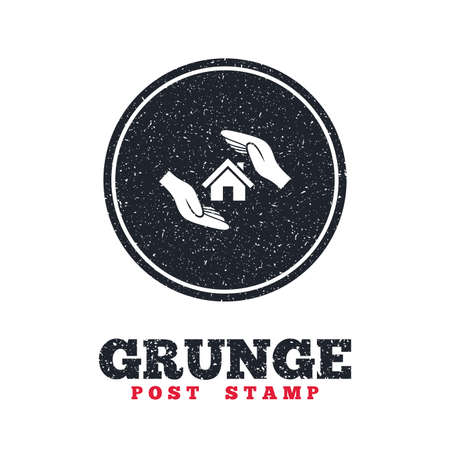 dirty house: Grunge post stamp. Circle banner or label. House insurance sign icon. Hands protect cover symbol. Insurance of property. Dirty textured web button. Vector