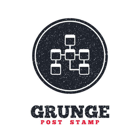relational: Grunge post stamp. Circle banner or label. Database sign icon. Relational database schema symbol. Dirty textured web button. Vector