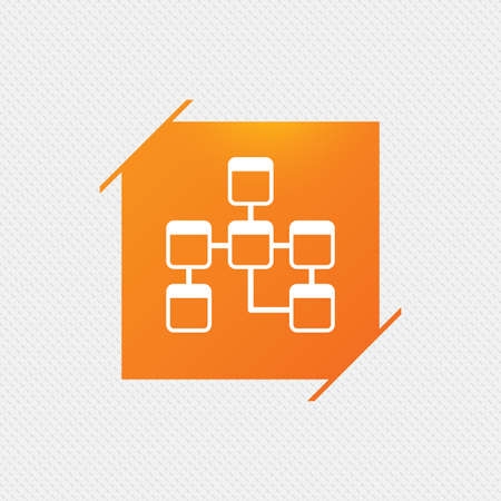 relational: Database sign icon. Relational database schema symbol. Orange square label on pattern. Vector