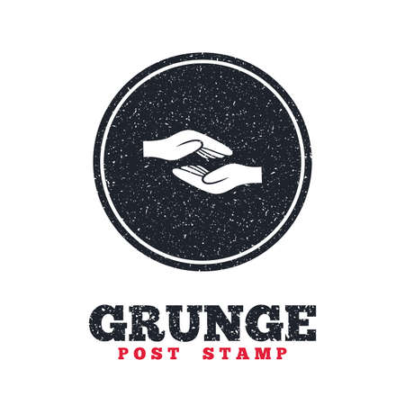 endowment: Grunge post stamp. Circle banner or label. Helping hands sign icon. Charity or endowment symbol. Human palm. Dirty textured web button. Vector Illustration