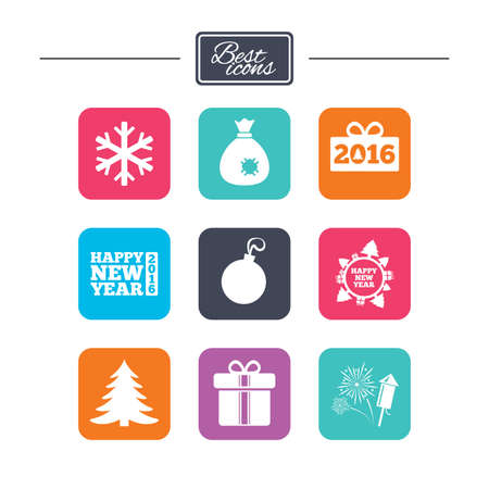 salut: Christmas, new year icons. Gift box, fireworks and snowflake signs. Santa bag, salut and decoration ball symbols. Colorful flat square buttons with icons. Vector Illustration