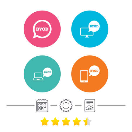 BYOD icons. Notebook and smartphone signs. Speech bubble symbol. Calendar, cogwheel and report linear icons. Star vote ranking. Vector Illustration