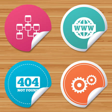 bended: Round stickers or website banners. Website database icon. Internet globe and gear signs. 404 page not found symbol. Under construction. Circle badges with bended corner. Vector