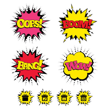 sound box: Comic Boom, Wow, Oops sound effects. Gift box sign icons. Present with bow symbols. Photo camera sign. Woman shoes. Speech bubbles in pop art. Vector