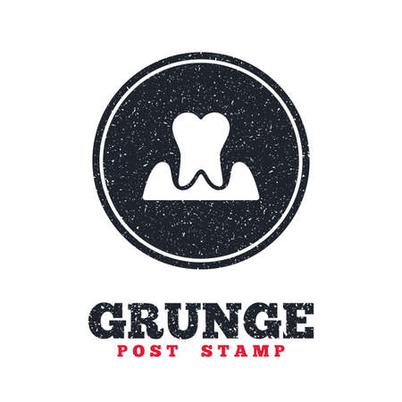 gingivitis: Grunge post stamp. Circle banner or label. Parodontosis tooth icon. Gingivitis sign. Inflammation of gums symbol. Dirty textured web button. Vector