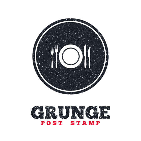 grunge cutlery: Grunge post stamp. Circle banner or label. Plate dish with forks and knifes. Eat sign icon. Cutlery etiquette rules symbol. Dirty textured web button. Vector Illustration
