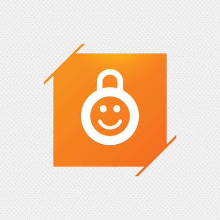 baby seal: Child lock icon. Locker with smile symbol. Child protection. Orange square label on pattern. Vector Illustration